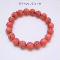 """Браслет Коралл искусств. Светло - Красный """"Классика"""" 10 мм"""