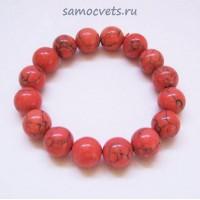 """Браслет Коралл искусств. Светло - Красный """"Классика"""" 12 мм"""