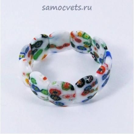 """Браслет Муранское стекло """"Цветник"""" Белый"""