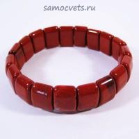 """Яшмовый браслет тонкий """"Алсу"""" Красная Яшма"""