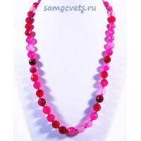 Ярко - Розовые Бусы из Агата огран. Радуга самоцветов - 8