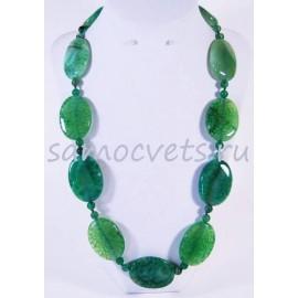 Крупные плоские бусы из Зелёных Агатов