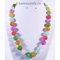Бусы из кварца синтетич. разноцветные классика - 12