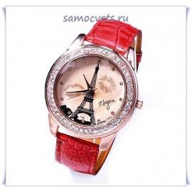 """Часы """"Эйфелева башня"""" Красный браслет"""