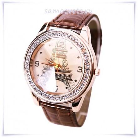 """Часы """"Эйфелева башня"""" Коричневый браслет"""