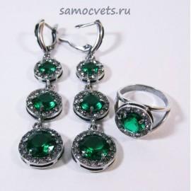 """Комплект с Фианитами """"Вечерний"""" Зелёный"""