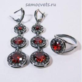 """Комплект с Фианитами """"Вечерний"""" Красный"""