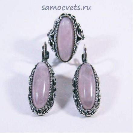 """Комплект из Розового кварца """"Виктория"""""""