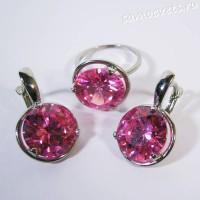 Комплект фианит розовый круг
