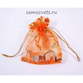 """Подарочный мешочек из органзы """"Золотые узоры"""" 7х9 см Оранжевый"""