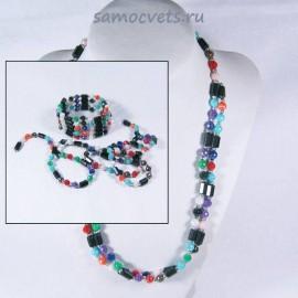(Бусы - Браслет) Змейка магнитная Гематит + Самоцветцы имитация