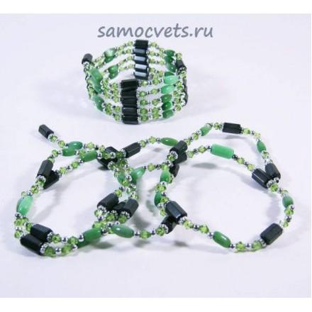 Гематитовая магнитная змейка (Бусы - Браслет) Зелёный Кошачий глаз искусств.