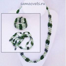 (Бусы - Браслет) Змейка магнитная Гематит + Змеевик имитация