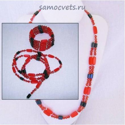 Змейка (Бусы - Браслет) Гематит намагниченный Кошачий глаз искусст. Красный