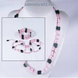 (Бусы - Браслет) Змейка магнитная Гематит + Майорка Розовая