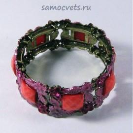Браслет Этно Кристаллы Светло - Красный