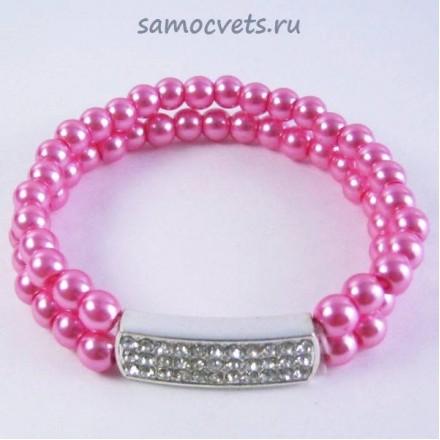 Браслет Майорка 2 ряда - Розовый м2