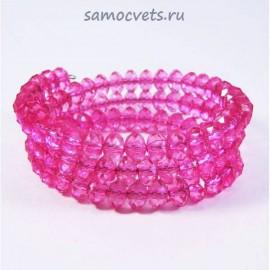 Браслет пружинка 3 ряда Хрусталь - Розовый