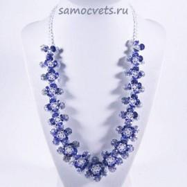 Колье Циркон Цветок - Фиолетовый