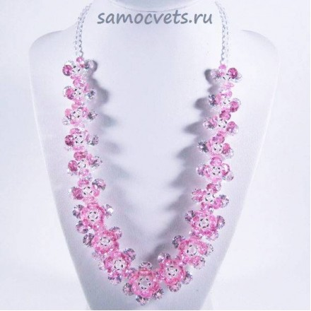 Колье Циркон Цветок - Розовое