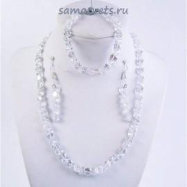 Комплект Циркон (бусы + браслет + серьги) - Белый (Прозрачный)