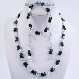Комплект Циркон (бусы + браслет + серьги) - Чёрно - Белый