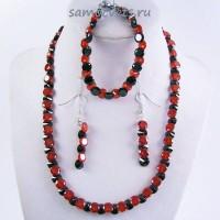Комплект Циркон (бусы + браслет + серьги) - Чёрно - Красный