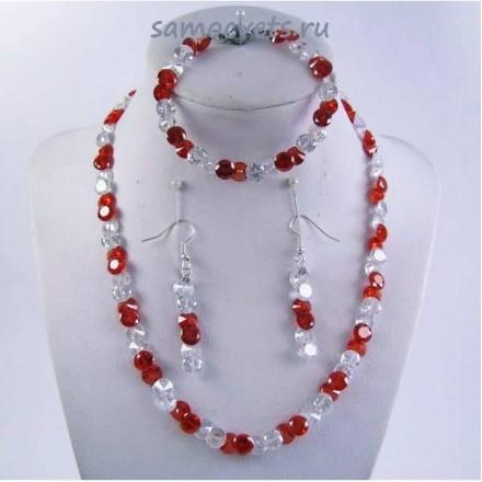 Комплект Циркон (бусы + браслет + серьги) - Красно - Белый