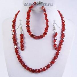 Комплект Циркон (бусы + браслет + серьги) - Красный