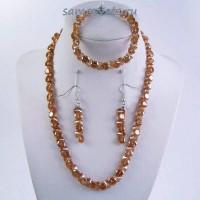 Комплект Циркон (бусы + браслет + серьги) - Персиковый