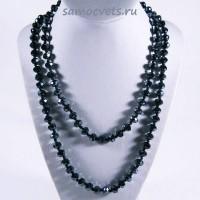 Длинные бусы из чёрного (гематит) Хрусталя шар огран. 8 мм